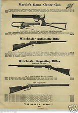1912 PAPER AD Marble's Game Getter Gun Long Rifle 1899 Savage 303 Caliber .22