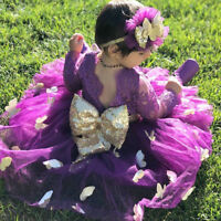 Princess Baby Girls Long Sleeve Lace Bridemaid Party Dress Kids Outfit Sundress