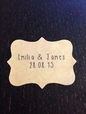 28 x VINTAGE Kraft Brown Wedding Paper Sticker Labels Personalised TALL