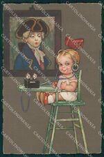 Colombo Art Deco Girl Radio Volta CORNER CREASE serie 2077 postcard QT6570