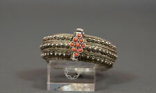 ANTIQUE AFRICAN MOORISH BERBER JEWELRY FILIGREE SILVER RED CORAL BANGLE ANKLET