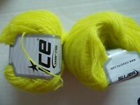 Ice Yarns Ralph Mohair wool blend lace yarn, neon yellow, lot of 2 (380 yds ea)