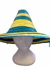 Adults Australian Day Party Green Yellow Mexican Straw Hat Aussie Summer Hat 7afdce7e4ea2