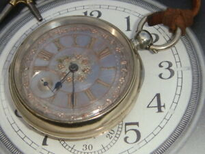 Victorian c1880s Nickel pocket watch English Lever incudes key working well Vgc