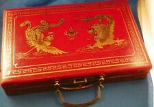 Chinese 144 Mah-Jong Set/&Bamboo Piece with leather box