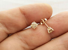 1.0Ct Genuine Natural Untreated Diamond Stud Earrings In Solid 14K Yellow Gold.