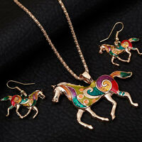 Women Accessories Sets Necklace and Earring Gold Silver Plated Horse Unique Gift