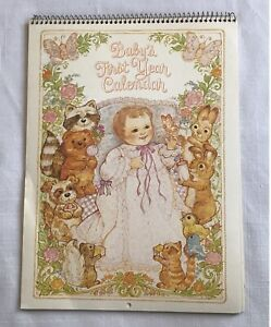 Current Vintage Babys First Year Calendar Woodland Floral Theme Stickers 1982