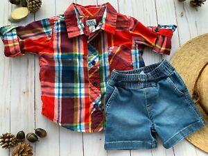 Old Navy Garanimals Toddler Boy Clothes Size 12-18 Months Shirt Denim Shorts
