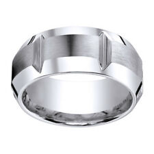Sterling Silver 925 10mm Satin Finish Grooves & Beveled Edge Men's Ring Sz 9