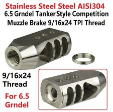 Stainless Steel 6.5 Grendel Tanker Competition Muzzle Brake 9/16x24 Threaded