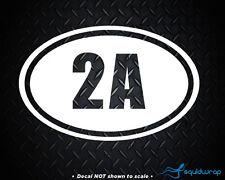 2A 2nd Amendment Sticker White Oval Vinyl Decal Car Truck Guns Rights Arms Ammo