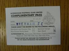 25/08/2008 Ticket: Altrincham v Wrexham [1st Non-League Season] (Complimentary P