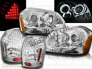 05-07 DODGE MAGNUM TWO HALO CCFL CHROME PROJECTOR HEADLIGHTS + LED TAIL LIGHTS