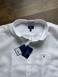 100% Genuine Gant XXL White Linen Shirt Short Sleeve Regular Fit 2XL Brand New