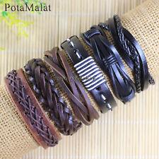 PotaMalat 6pcs Unisex Genuine Leather Bracelet Multi Wrap Hemp Surfer Braid D101