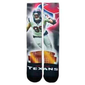 NWT $20 Adult For Bare Feet Houston Texans JJ Watt City Crew Socks Size Large