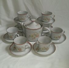 REDUCED ❀ڿڰۣ❀ DENBY Stoneware MELODY Set of 8 CUPS, SAUCERS & TEAPOT Rare ❀ڿڰۣ❀
