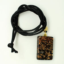 Brown, Gold and Black Rectangular Murano Glass Venetian Pendant Necklace