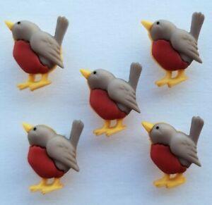 ROBIN RED BREAST Craft Buttons Christmas Bird Winter Garden Novelty Dress It Up