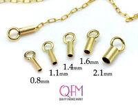 10pcs Crimp End Cap 24K Gold Plated End Cap ID 0.7mm Gold End Caps End Cap with Loop ID 0.7mm, JBB Findings Gold Plated Cord Ends