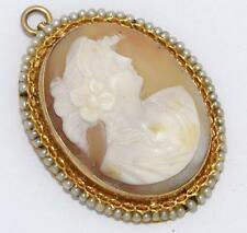 ESTATE ANTIQUE VICTORIAN SOLID 10K GOLD NATURAL SEED PEARL SHELL CAMEO PENDANT