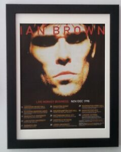 IAN BROWN*Stone Roses*1998*Tour*ORIGINAL*POSTER*AD*QUALITY*FRAMED*FAST SHIPPING