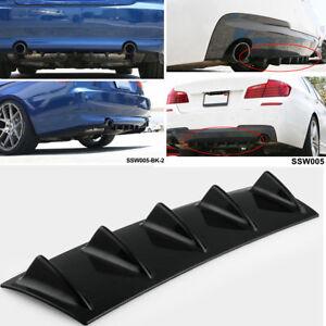 23'' x6'' Lower Rear Body Bumper Diffuser Shark Fin Kit  5 Fin PU Spoiler Black