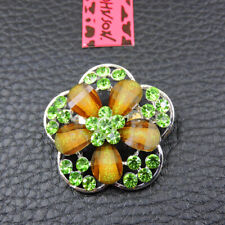 Exquisite Flower Charm Brooch Pin Gift New Betsey Johnson Women's Green Crystal