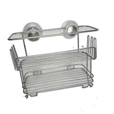 Shower Caddy Silver Metal Two Shelf Strong Suction Mounting Design