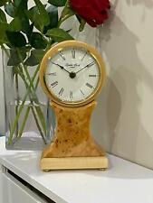 Polished Burr Walnut Light Wooden Battery Mantel Clock 06394