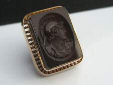 Antique Victorian era 14K Gold Onyx Roman Greek Warrior Intaglio Cameo Cufflink
