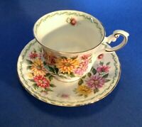 Queens By Rosina Pedestal TeaCup And Saucer - Special Flowers - Aster - England