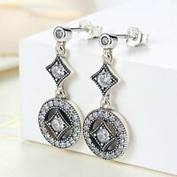 Authentic 925 Sterling Silver Dangle Clear CZ Ear Stud Earrings Fashion Jewelry