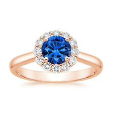 14K Rose Gold 1.60 Ct Round Cut Real Diamond Blue Sapphire Gemstone Ring Size N