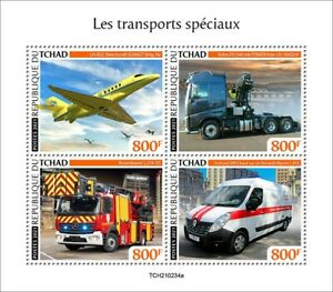 Chad 2021 MNH Special Transport Stamps Fire Engines Ambulance Aircraft 4v M/S