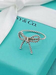 Rare Tiffany & Co Silver Twist Bow Ribbon Italy Ring UK Size N1/2, US 7, EU 54