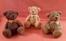"3 Brown 4.5"" Polystone Wicker Look Teddy Bears Greenbrier Baby Shower Nursery"
