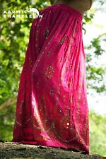 Handmade Embroidered Skirt Pink Long Maxi Hippie Boho Full Length Sequins Gypsy