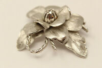 Vintage Silvertone Signed COROCRAFT Large FLOWER Brooch Pin G*