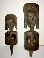 BAMBARA PEOPLE - TWO (2) OLD CARVED WOOD DOUBLE FACED PUPPETS - FROM MALI