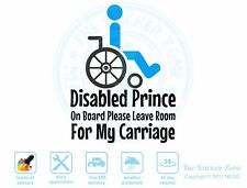 Disabled Prince on board car van vinyl sticker decal