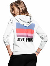 Victorias Secret love PINK Hoodie Sweatshirt Half Zip White Graphic Medium M