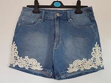 New BDG Urban Outfitters Blue Denim Mom Hotpants Shorts White Floral Lace 10