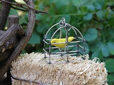 Miniature Dollhouse Fairy Garden ~ Tiny Hanging Bird Cage with Yellow Bird ~ New