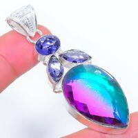 "Bi-Color Tourmaline, Tanzanite Ethnic Jewelryr Jewelry Pendant 2.5"" AK-3299"