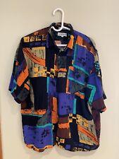Men's Keneville Short Sleeve Black Blue Orange Button Front Shirt Size L Rayon