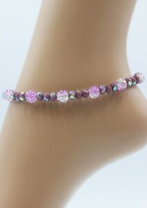 Glass Jewellery XL Stainless Steel Silver Ankle Chain Purple Beads Variable #