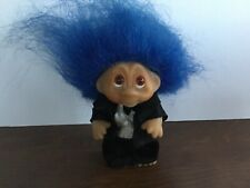 "Vintage 1985 Thomas DAM Norfin Troll Doll 3"" Groom Black Tuxedo Blue Hair"