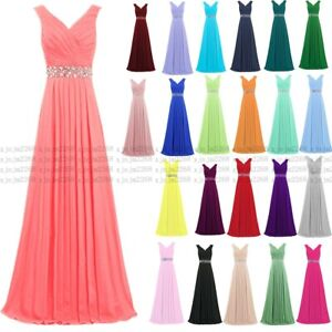 New Long Chiffon Prom Dress Bridesmaid Formal Evening Party Ball Gown Stock 6-30